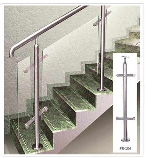 SS Balusterd SS Pipe Glass  Stair Railing