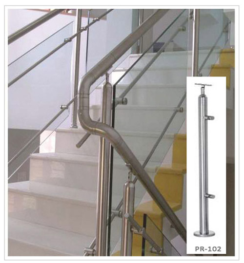 SS Balusterd Pipe Glass Spiral Stair Railing