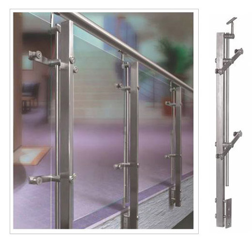 SS Flat Balusterd Horizontal Glass Railing