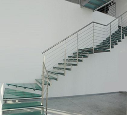 SS Square Baluster Glass Step Horizontal SS Pipe Stair Railing