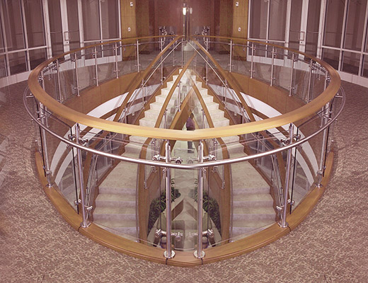 Out Side SS Pipe Baluster Modular  Horizontal Glass Railing
