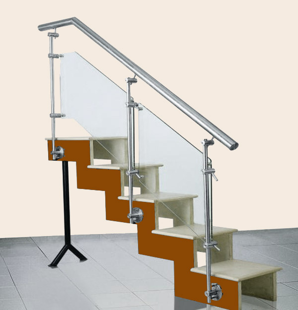 SS Baluster Modular Glass Stair Railing