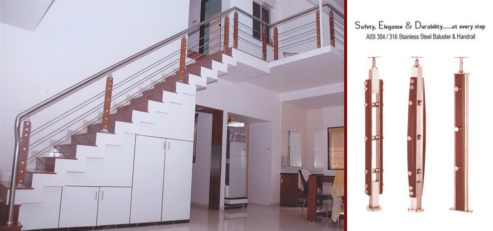 Home Apartment Building SS Wood Balustrade Railing