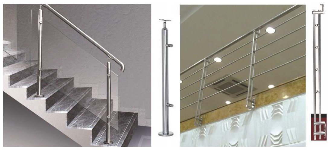 SS & Wood Handrail Glass Frame Modular railing design