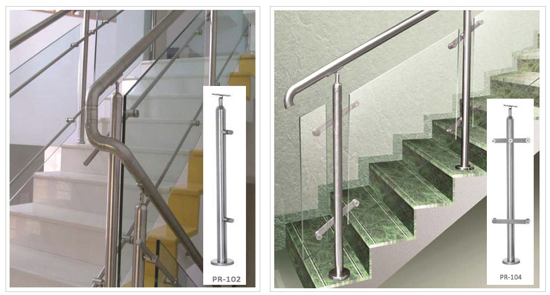 SS Stair Glass Frame Railings Design With SS Baluster
