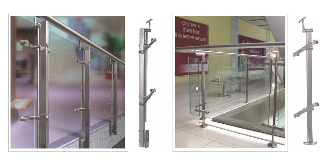 SS Square Shap Baluster System Glass Railing Design