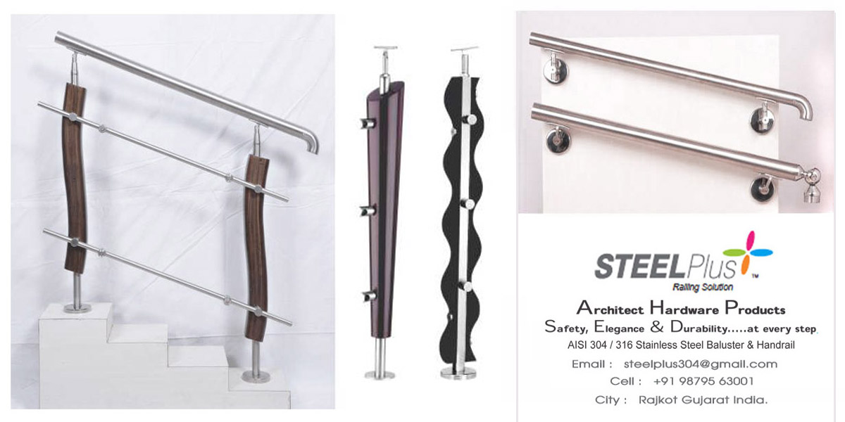 Steel Plus Brand Wooden Baluster Stainless Steel Railings